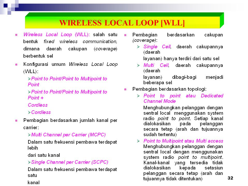 WIRELESS LOCAL LOOP [WLL]
